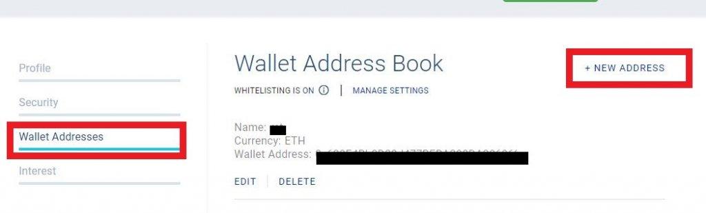 BlockFi出金のためのホワイトリストアドレスの登録