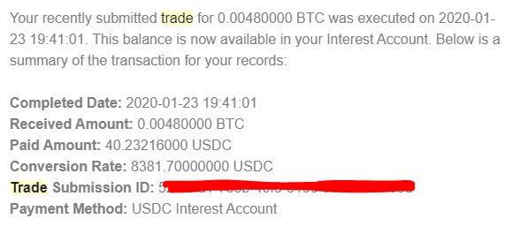 BlockFiのトレード完了メール