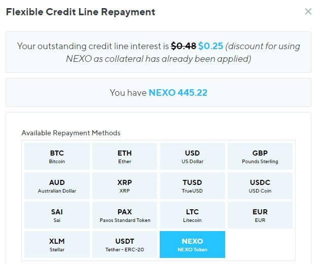 NEXOの支払い金利割引