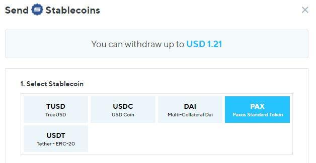 Nexoのステーブルコイン出金
